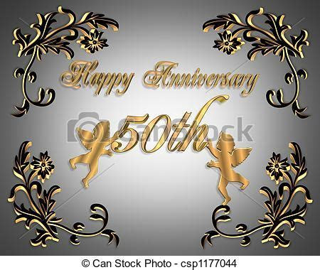 50th wedding anniversary . 3d illustration design for