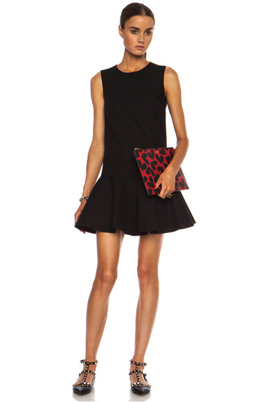 Red Valentino|Ruffle Cotton-Blend Dress in Black [1]