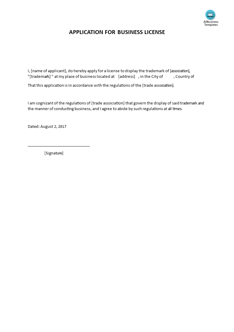 Application For Business License Templates At