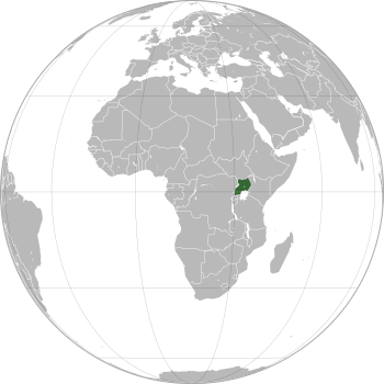 English: Uganda (orthographic projection) Port...