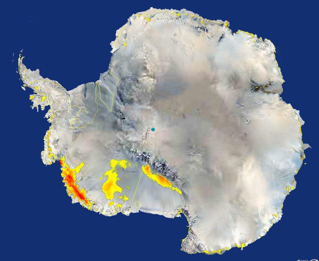 La nieve se esta derritiendo a consecuencia de las altas temperaturas en la zona oeste de la Antártica. Imagen de 2007.