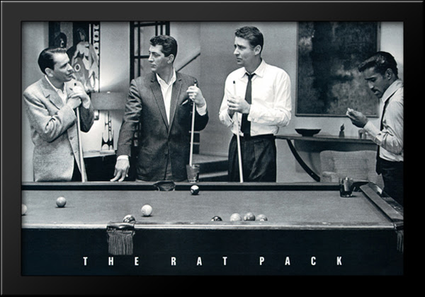 Details About Rat Pack Shooting Pool 40x28 Extra Large Black Wood Framed Art Print