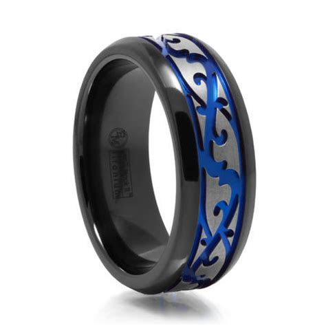 Men's Paisley Design Black Titanium Ring w/ Blue Groove