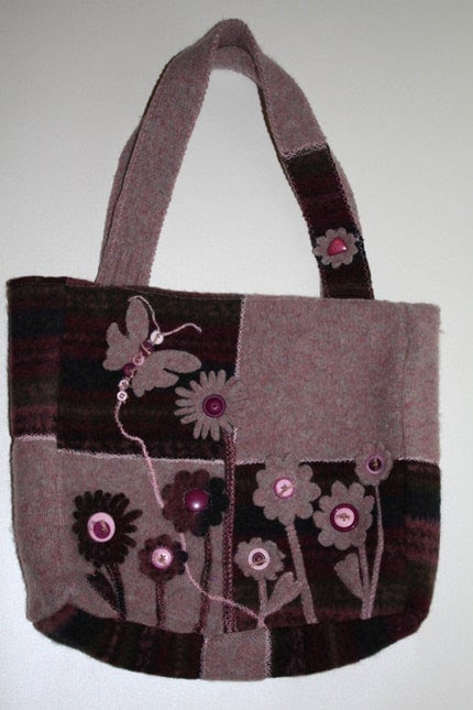 Felted Wool, Upcycle - Burgandy and Rose Felted Wool Tote with Flowers and Butterfly