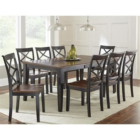 rani  piece dining set  medium cherry  ebony
