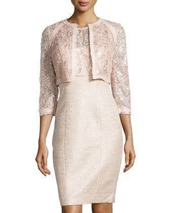 Lace Metallic Tweed Cocktail Dress Bisque   Fashion