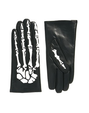 Image 1 ofASOS Leather Skeleton Printed Gloves