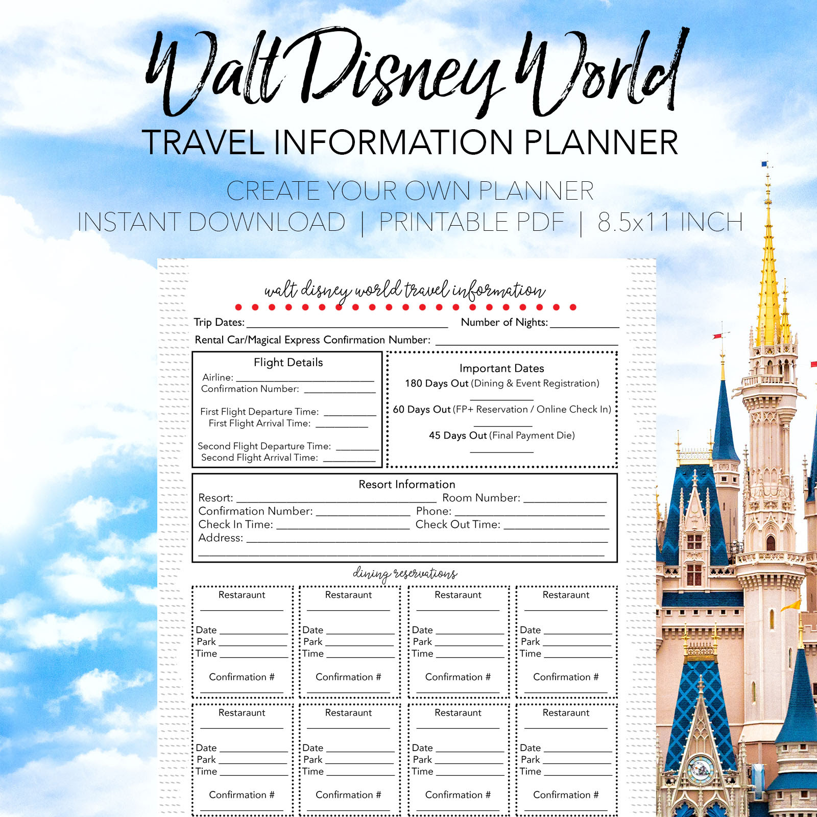 Walt Disney World Travel Info Planner  Dream Plan Fly
