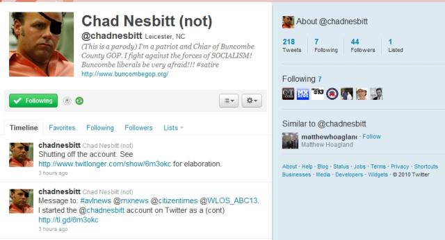 Screen cap of fake Chad Nesbitt Twitter Account