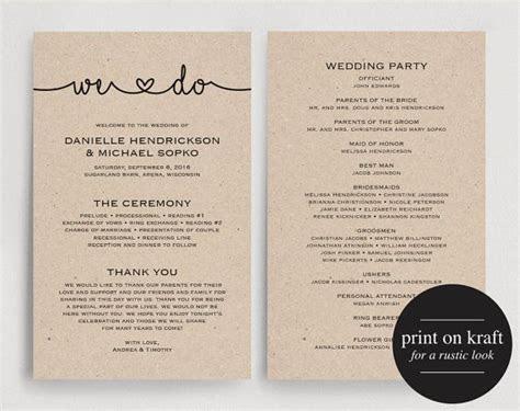 Wedding Programs Instant Download, Printable Template