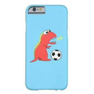 Funny Cartoon Dinosaur Playing Soccer iPhone 4 Case