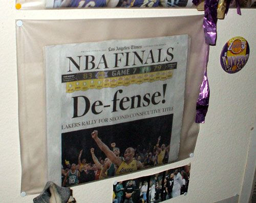The Los Angeles Times sports page commemorating the Lakers' Game 7 win over the Boston Celtics on June 17, 2010.