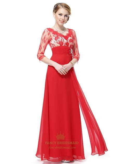 Red Prom Dresses Long Sleeves, Red Lace Prom Dresses With