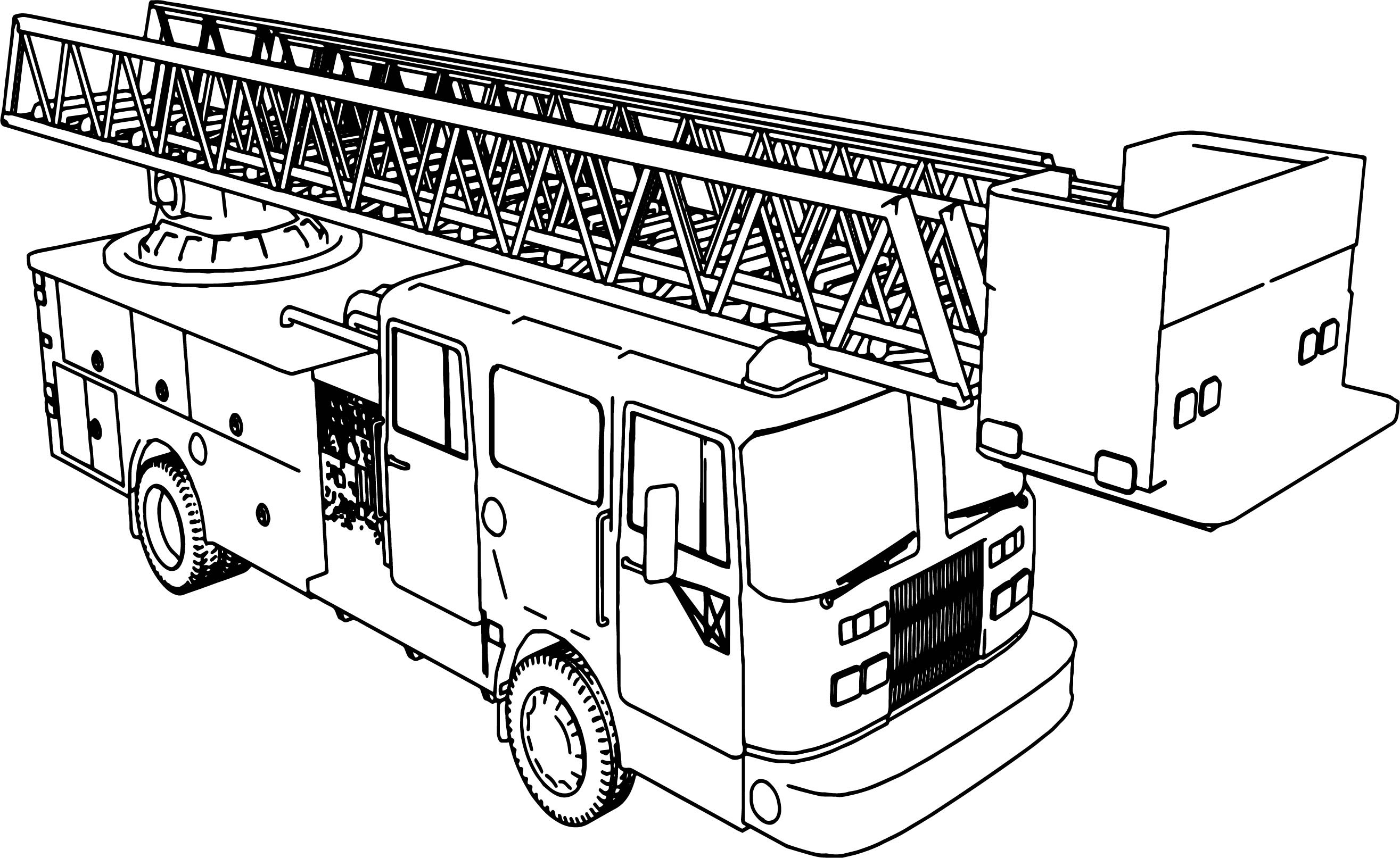 Long Fire Truck Coloring Page | Wecoloringpage.com
