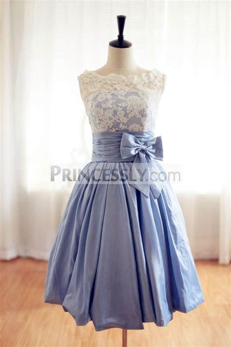 Lace Blue Taffeta Wedding Dress/Bridesmaid Dress in Knee