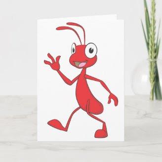 Passeio feliz e amigável da formiga cartao