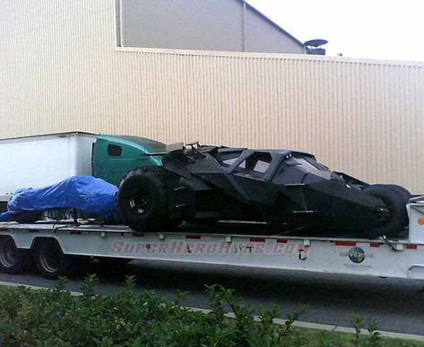 A photo of the Tumbler and Batpod (which is concealed by the blue tarp) from the Pittsburgh set of THE DARK KNIGHT RISES.