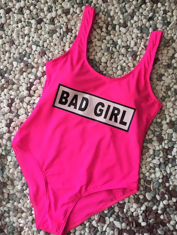 Straps Bad Girl Print Swimwear