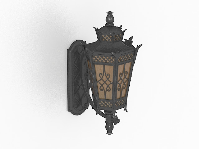 Wall mount lantern light fixture 3d model 3ds max files free download  modeling 28001 on CadNav