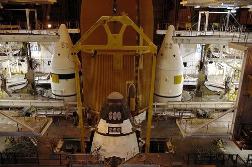 Atlantis is attached to its external fuel tank and twin solid rocket boosters on July 24, 2006.