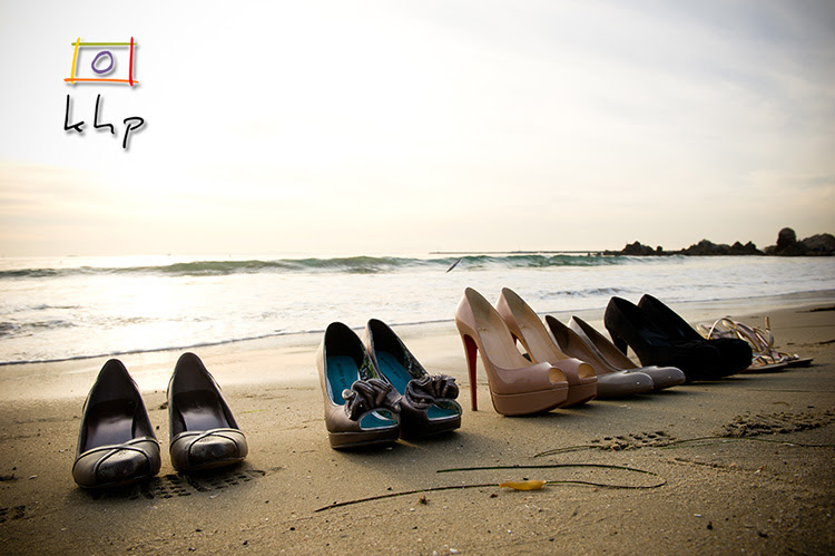 High heels on the beach