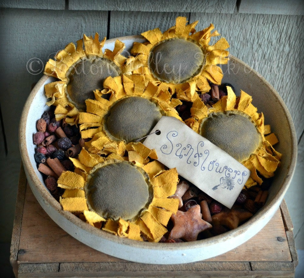 Sunflower Bowl Fillers Rustic Flower by PaxtonValleyFolkArt