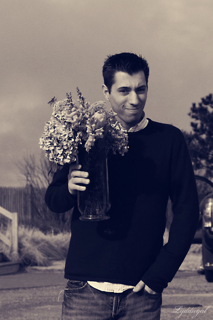 Boy over flowers