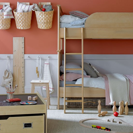 Orange children's bedroom | Bunk bed | Children's bedroom storage idea | Image | Housetohome