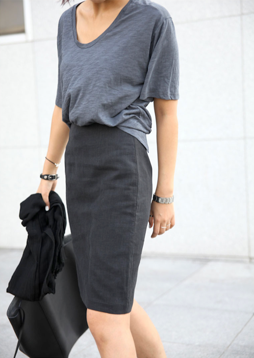 Le Fashion Blog Grey On Grey Office Look Slouchy Tee Fitted Pencil Skirt Black Tote Bag Via Death By Elocution
