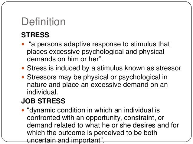 Methods of stress management psychology, patience of job idiom