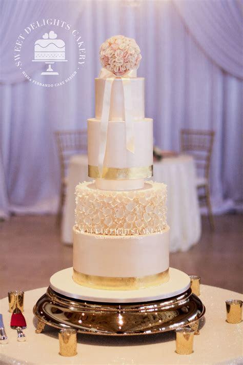 Elegant Ivory Gold Wedding Cake   CakeCentral.com