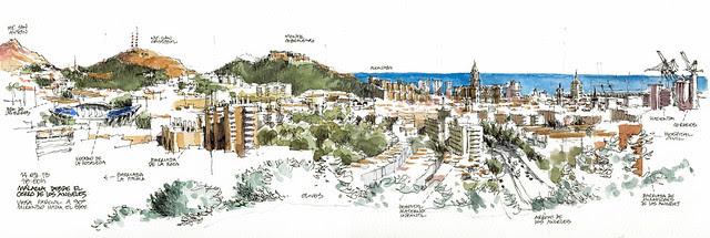 Málaga, city center from North-West