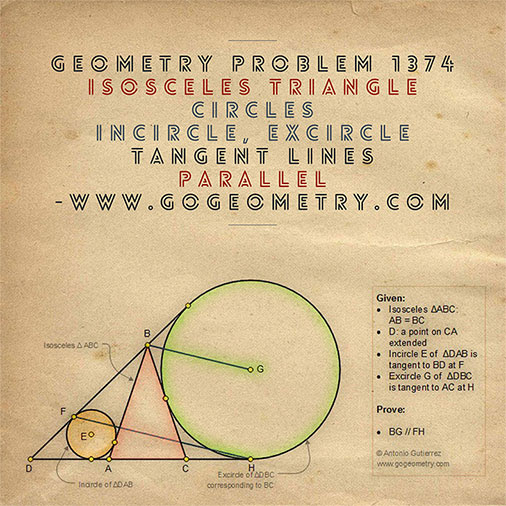 Geometric Art Typography of Geometry Problem 1374: Isosceles Triangle, Exterior Cevian, Incircle, Excircle, Tangency Points, Parallel Lines, iPad Apps.