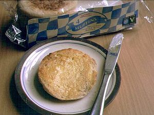 A toasted and buttered split muffin