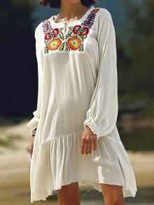 Manga larga bordado vestido de cuello redondo