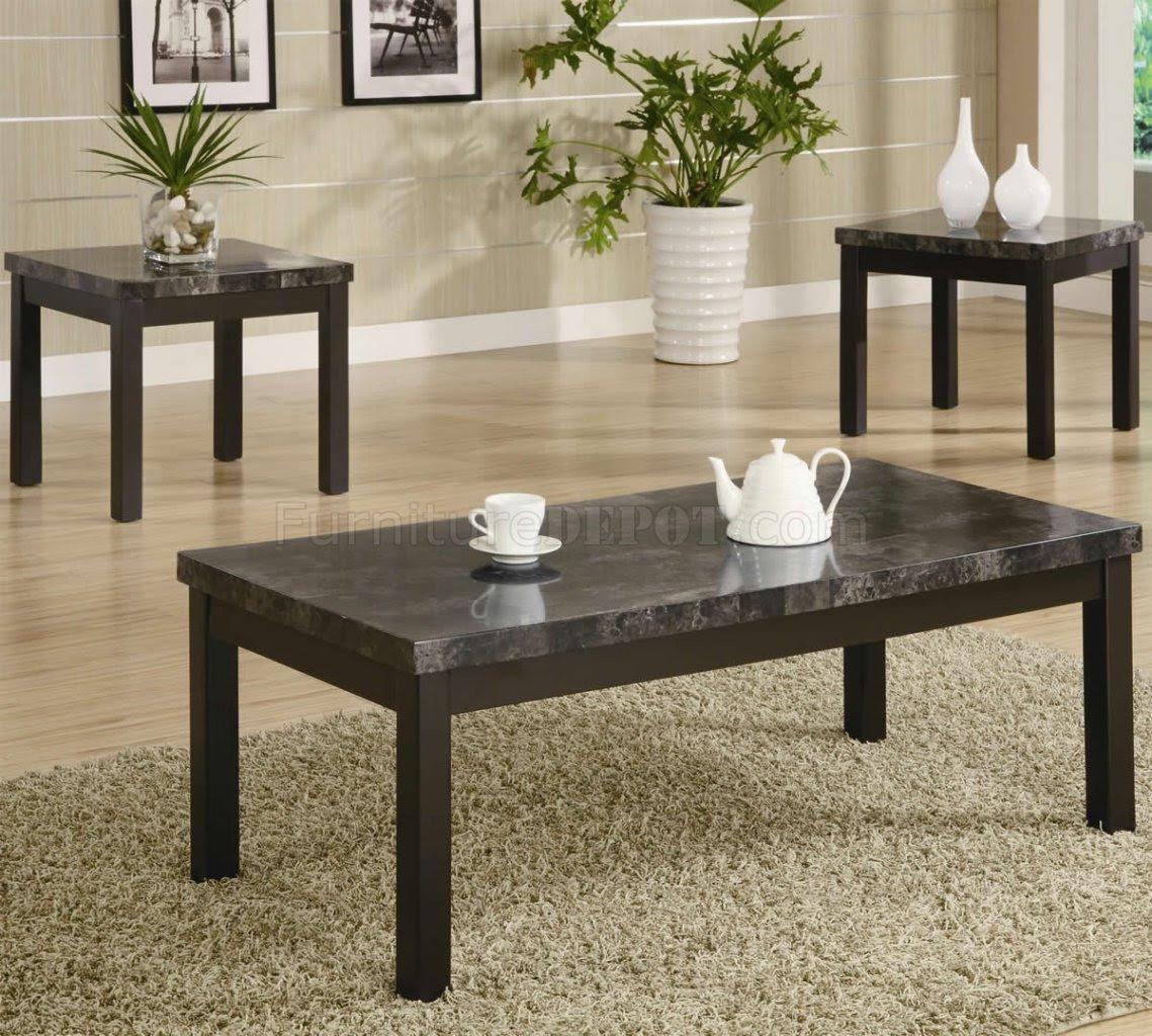 Black Finish Modern 3Pc Coffee Table Set w/Marble-Like Top