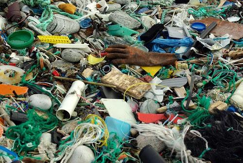 Marine litter.  Closeup of colourful plastics on the shoreline