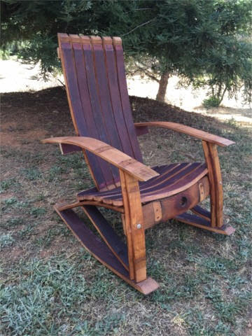 Wine Barrel Adirondack Rocking Chair