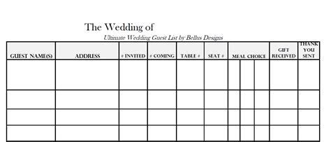 Free Downloadable Wedding Guest & RSVP List!   Wedding