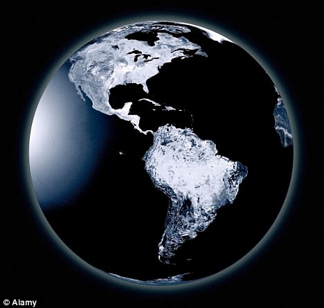 A digital illustration of a cold and frozen planet Earth