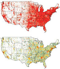 These maps of the United States display the potential spread of pandemic flu. Each dot changes from green to red as more people in that area get sick. The top map shows what could happen if we don't do anything. The bottom map shows the effect of giving people a less effective vaccine while a better one is being developed. Proceedings of the National Academy of Sciences