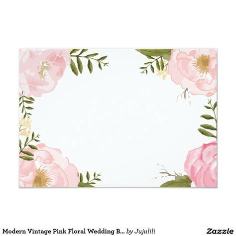 Modern Vintage Pink Floral Wedding Blank Card   Zazzle.com