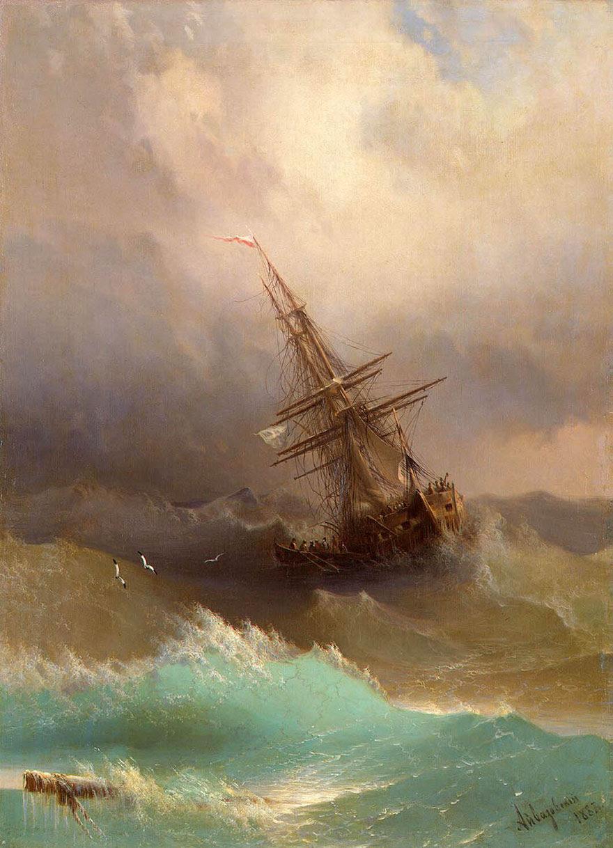 -pintura del siglo fascinantes-translúcidos ondas-19a-ivan-konstantinovich-aivazovsky-6