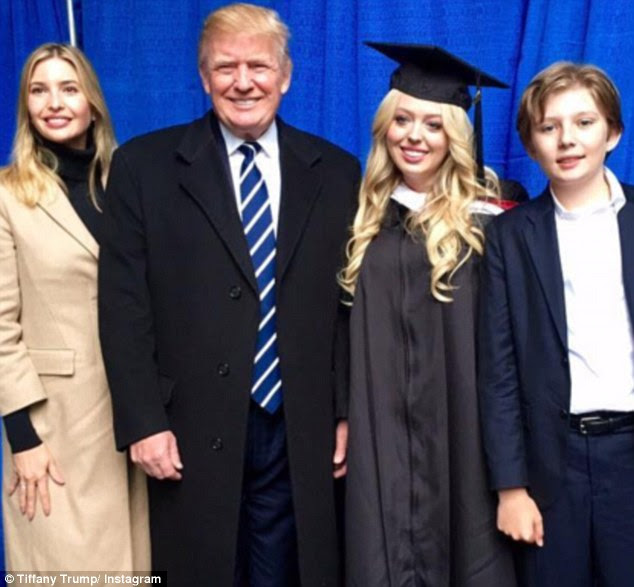 Ivy League: The 22-year-old, who is pictured with her father Donald and her half-siblings Ivanka and Barron, graduated from the University of Pennsylvania in May