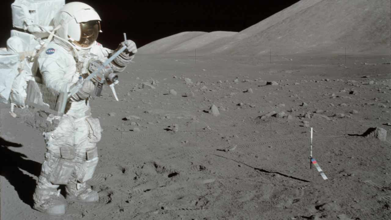Scientist-astronaut Harrison Schmitt collecting lunar rake samples during the first Apollo 17. Schmitt was the lunar module pilot for the mission. The Lunar Rake is used to collect discrete samples of rocks and rock chips of different sizes. Image courtesy: NASA