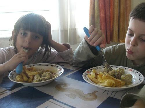 youvarlakia and fried potatoes
