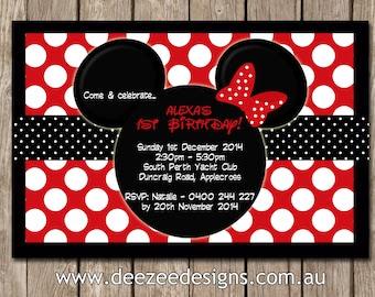 minnie mouse birthday invitation – Etsy