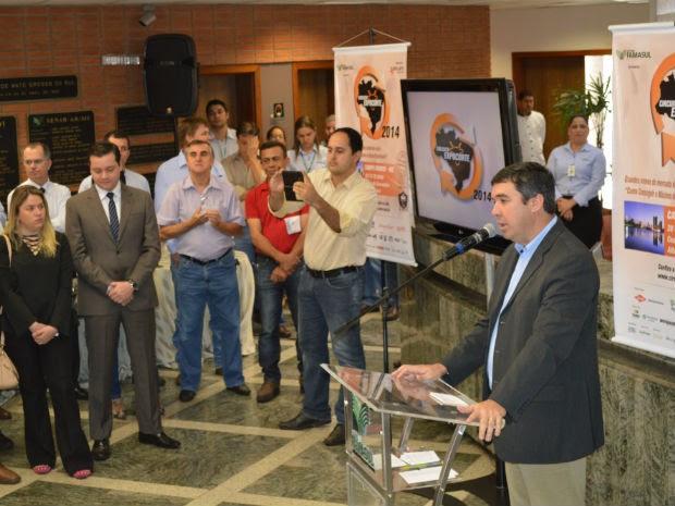 Presidente da Famasul, Eduardo Riedel, no lançamento do Circuito Expocorte em MS (Foto: Anderson Viegas/Do Agrodebate)