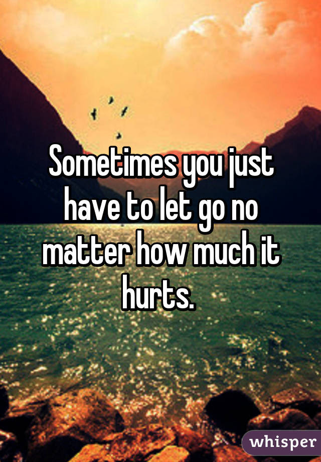 Sometimes You Just Have To Let Go No Matter How Much It Hurts