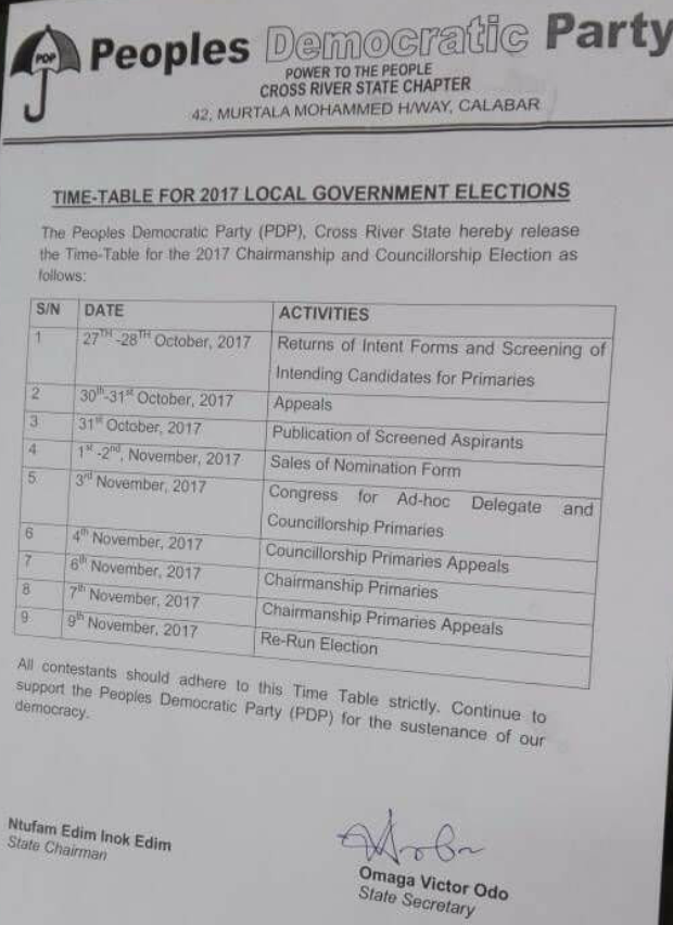 PDP Releases Time-table For The 2017 Chairmanship And Councillorship Elections In Cross River State